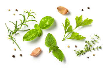 Fototapeta Selectionof herbs and spices, isolated