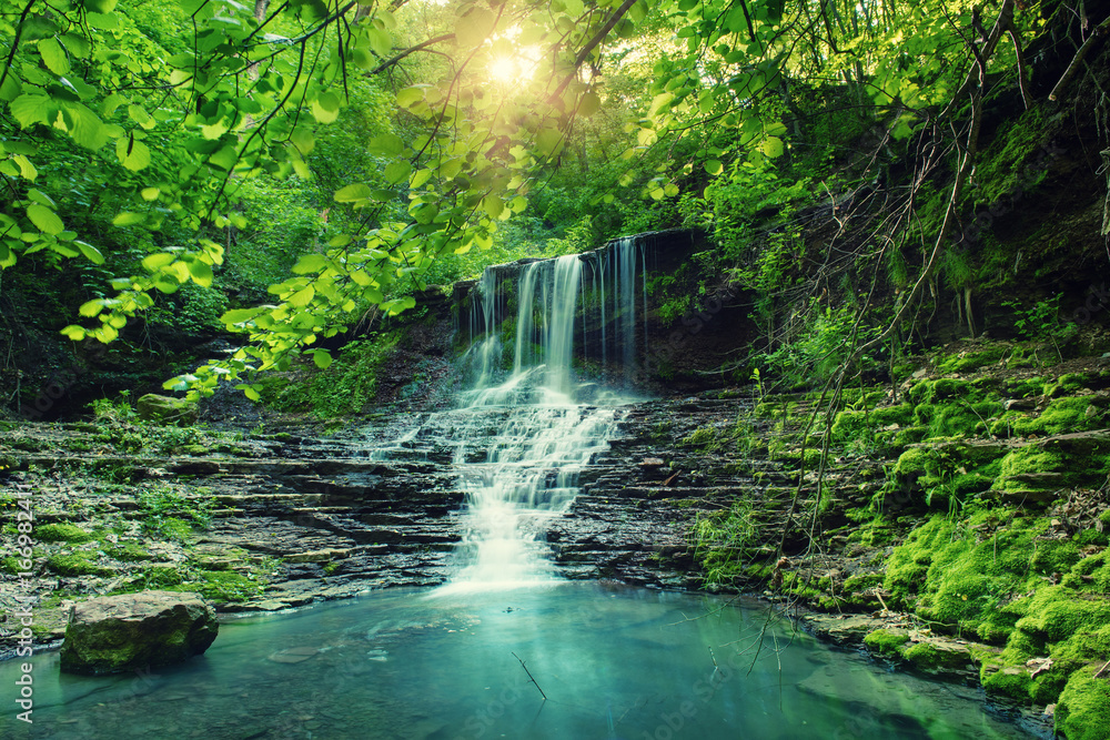 Fototapeta Beautiful mountain rainforest waterfall with fast flowing water and rocks, long exposure. Natural seasonal travel outdoor background with sun shihing