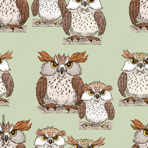 obraz dibond pattern of the cartoon owls