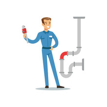Proffesional Plumber Man Character With Monkey Wrench Repairing Pipeline, Plumbing Work Vector Illustration