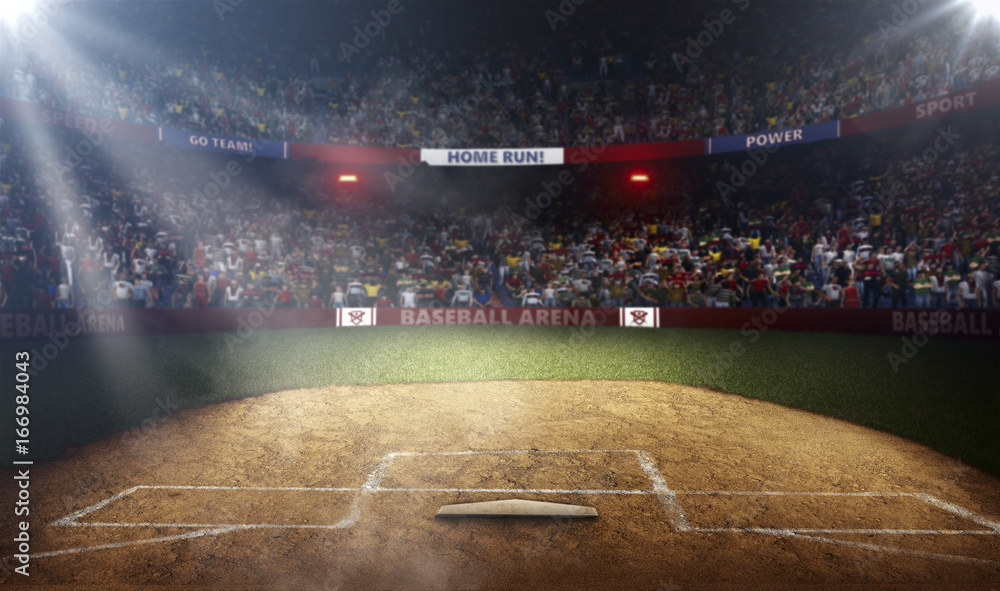 Fototapety, obrazy: Professional baseball arena side view in lights