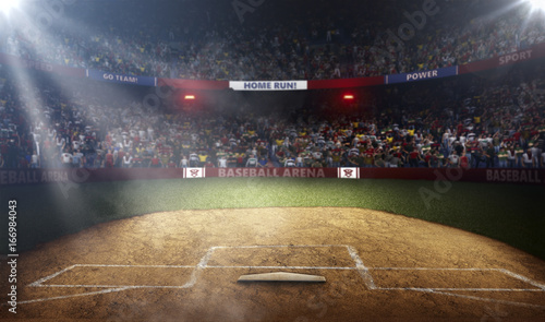 Professional baseball arena side view in lights Wallpaper Mural