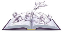 Open Book Fable Of Swan Pike And Crawfish