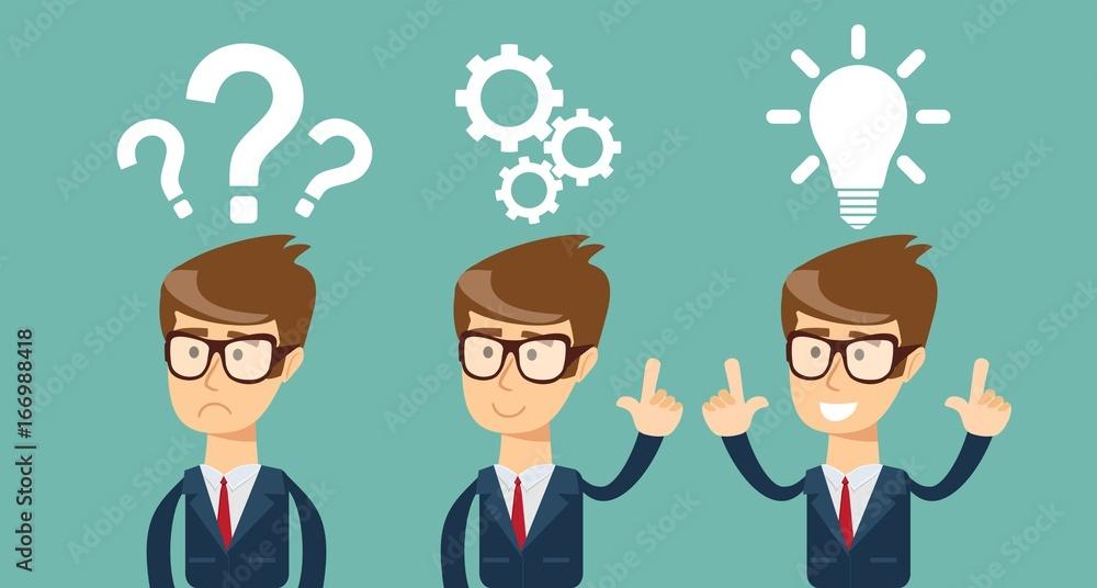 Fototapeta Thinking. Businessman solving a problem business concept . Stock vector illustration for poster, greeting card, website, ad, business presentation, advertisement design.