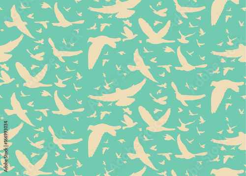 Photo sur Toile Vert corail Vector beautiful pattern with birds silhouette on green background, seamless