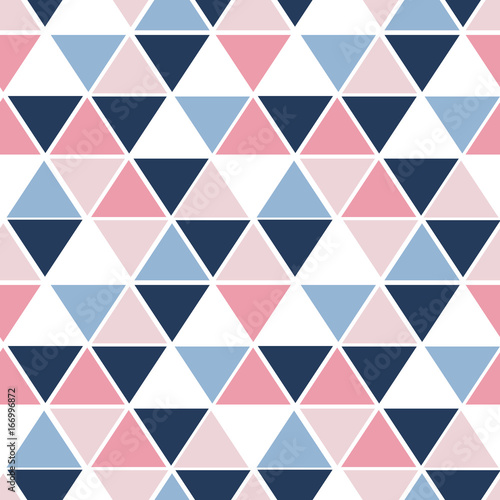 fototapeta na ścianę Vector seamless pattern with triangles. Trendy color palette. Geometrical elements on white isolated background.