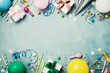 canvas print picture - Birthday party banner or background with colorful balloon, gift, carnival cap, confetti, candy and streamer. Flat lay style. Copy space for greeting text.
