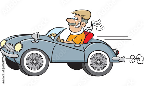 Staande foto Cartoon cars Cartoon illustration of a man driving a sports car.