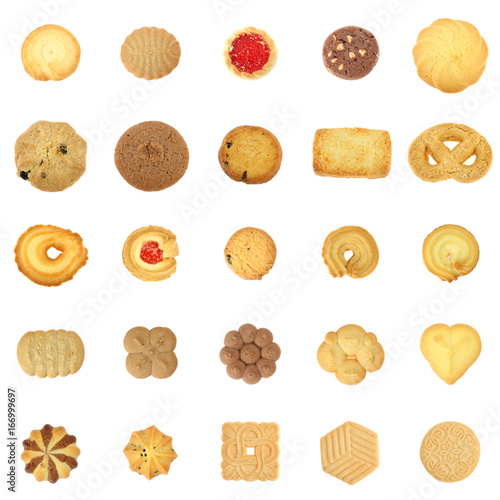 Crédence de cuisine en verre imprimé Biscuit collection cookies set on white background