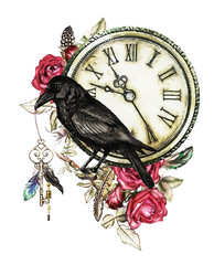 Panel Szklany Boho watercolor illustration with crow, red roses, clock, keys and feathers. Gothic background with flowers. Cool print on T-shirt, Tattoo. Vintage