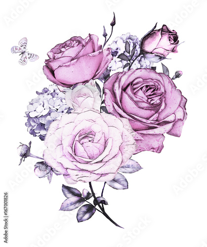 Watercolor Flowers Floral Illustration In Pastel Colors Bouquet Of Purple Rose Leaf