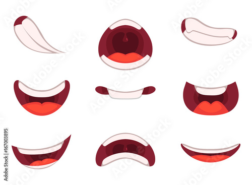 Different emotions of cartoon mouths with funny expressions Wallpaper Mural