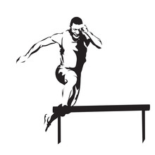Hurdles Race, Running And Jumping Man Abstract Vector Silhouette