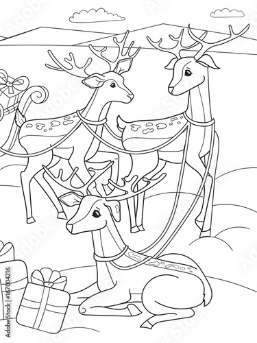 Recess Fitting Cartoon draw Childrens coloring cartoon animal friends in nature. Santa claus on the north pole next to sleighs and magical deer