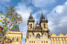 Town Square In Prague And The Main Church, Czech Republic