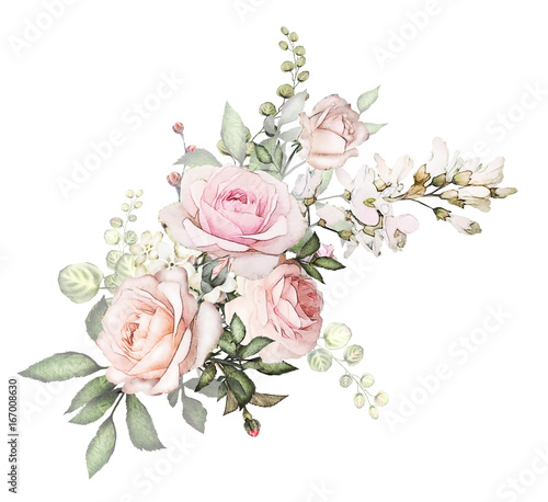 Watercolor Flowers Arrangements Floral Illustration