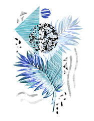 Panel Szklany Na drzwi Blue Tropical summer geometric poster design. Triangles and circle with grunge textures, watercolor palm, leaves. Abstract background vintage. Hand painted illustration. doodles retro