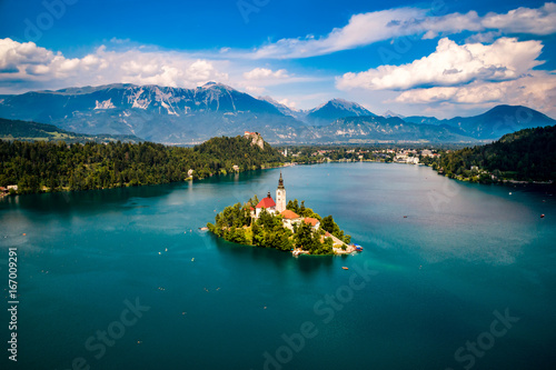 Photo sur Aluminium Bleu vert Slovenia - resort Lake Bled.