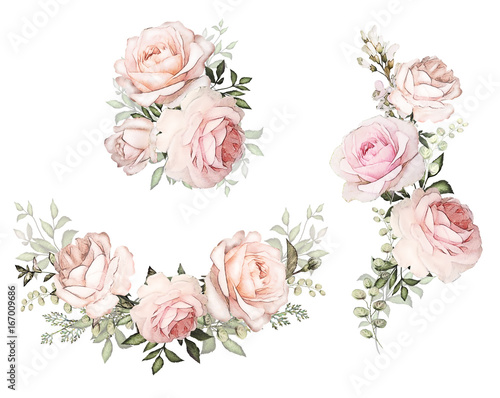 Watercolor flowers floral illustration in pastel colors bouquet of watercolor flowers floral illustration in pastel colors bouquet of flowers pink rose leaf mightylinksfo