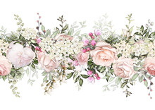 Isolated Seamless Border With Pink Flowers, Leaves. Vintage Watercolor Floral Pattern With Leaf And Rose. Pastel Color. Seamless Floral Rim,  Band For Cards, Wedding Or Fabric.
