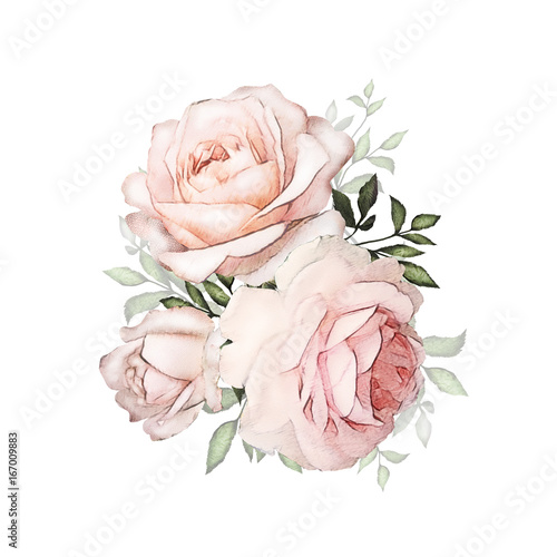 Watercolor Flowers Floral Illustration In Pastel Colors Bouquet Of
