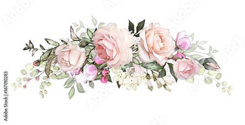 Watercolor flowers arrangements floral illustration composition of watercolor flowers arrangements floral illustration composition of flowers pink rose leaf and buds mightylinksfo