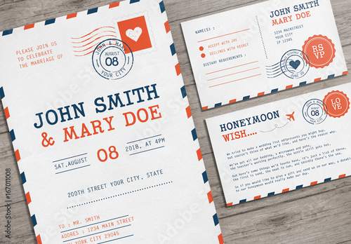 Airmail Postcard Wedding Invitation Set Buy This Stock Template And
