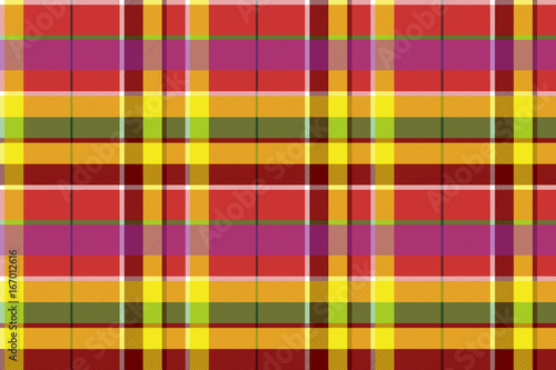 Photo sur Toile Pixel Madras colored plaid diagonal fabric texture seamless pattern