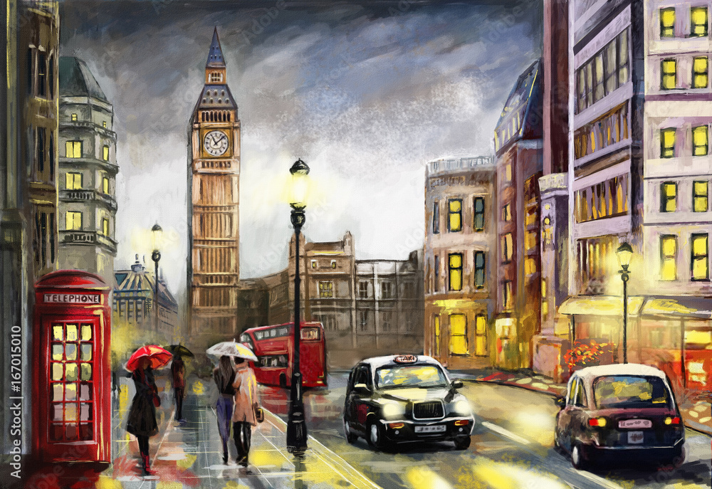 Fototapeta oil painting on canvas, street view of london. Artwork. Big ben. couple and red umbrella, bus and road, telephone. Black car - taxi. England