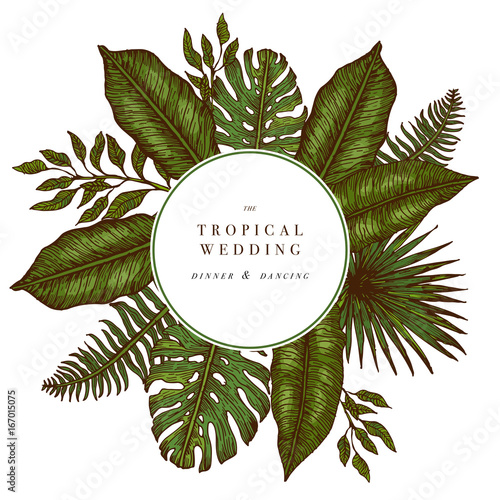 Tropical palm leaves jungle round wedding invitation design jungle round wedding invitation design template vector illustration stopboris Choice Image