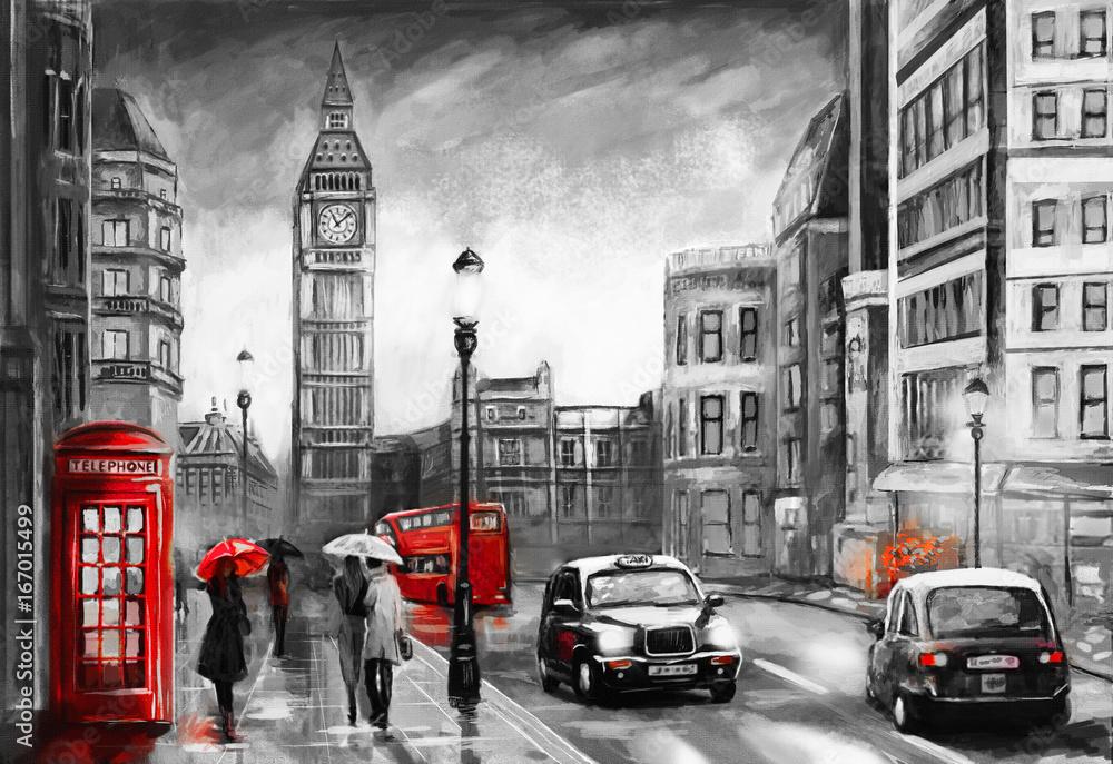 Fototapety, obrazy: Obraz olejny na płótnie, widok ulicy w Londynie, taksówka, Anglia