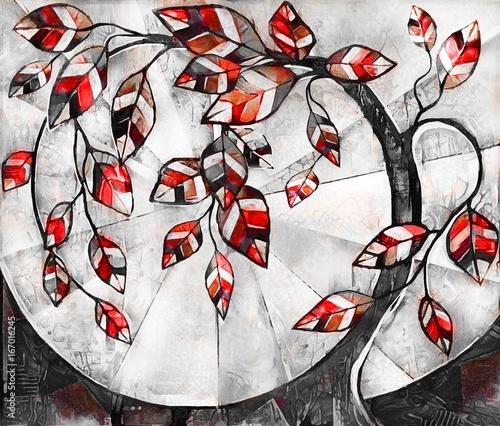 obraz-olejny-na-plotnie-stylizowane-drzewo-nowoczesna-grafika-ilustracja-wnetrza-abstrakcyjne-tlo-czerwony-czarno-bialy