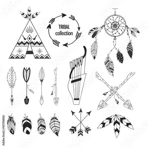 Tribal collection of hand drawn elements in boho style Wallpaper Mural
