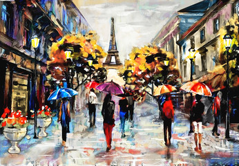 Fototapetaoil painting on canvas, street view of Paris. Artwork. eiffel tower . people under a red, blue umbrella. Tree. France