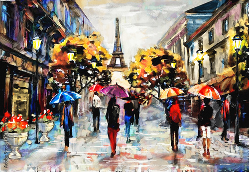 Obraz oil painting on canvas, street view of Paris. Artwork. eiffel tower . people under a red, blue umbrella. Tree. France - fototapety do salonu