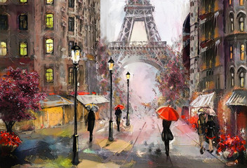 Fototapetaoil painting on canvas, street view of Paris. Artwork. eiffel tower . people under a red umbrella. Tree. France