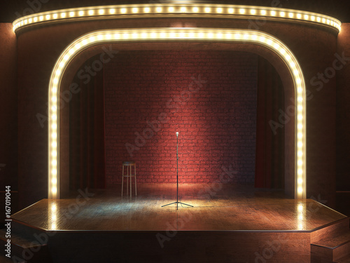 Photo  Dark empty stage with microphone. 3d render