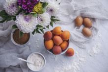 Ingredients For Apricots Yogurt Cake On A White Marble Table