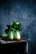 Chinese Cabbage, Pak Choi On A Blue Background