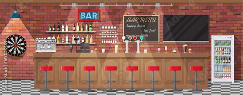 Obraz Interior of pub, cafe or bar. - fototapety do salonu