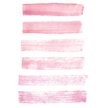 Hand Painted Pink Watercolor Grunge Brush Strokes Isolated On Th
