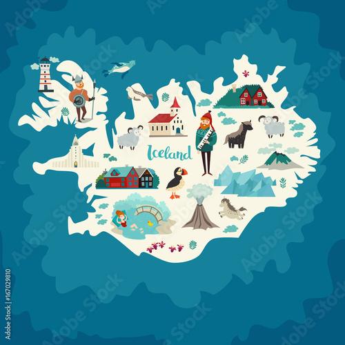 Fotografie, Obraz Iceland map landmarks