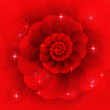Abstract Vector Red Fractal Background