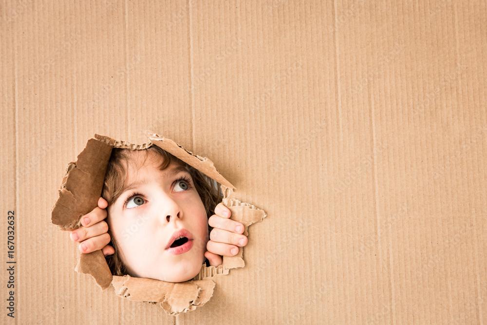Fototapeta Portrait of worried child