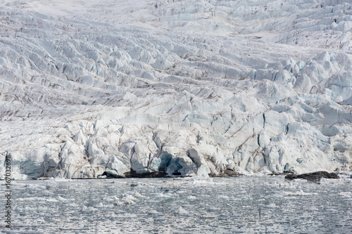 Foto op Plexiglas Arctica Sea bay with a glacier and icebergs in Svalbard, Spitsbergen, Norway