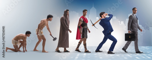 Progression of man mankind from ancient to modern Canvas Print