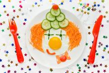 Fried Egg Vegetables Clown Fac...