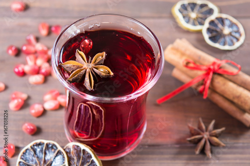 Pomegranate drink with anise and cinnamon