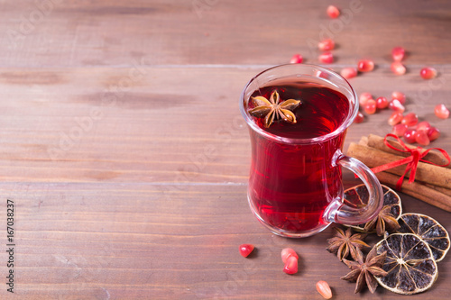 Hot pomegranate drink with citrus, anise and cinnamon