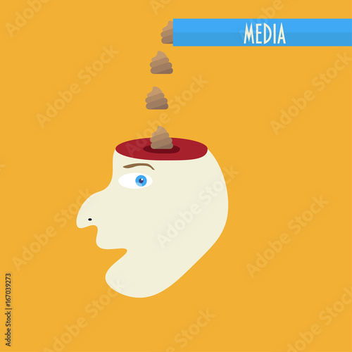 Media Brainwashing Concept Vector Illustration Fake News Forming